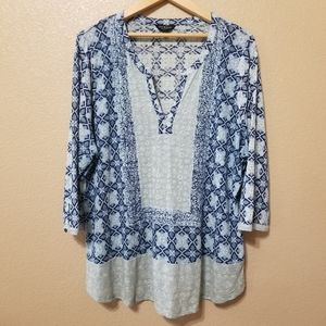 Lucky Brand Two Tone Blue Geometeric Blouse Sz 2X